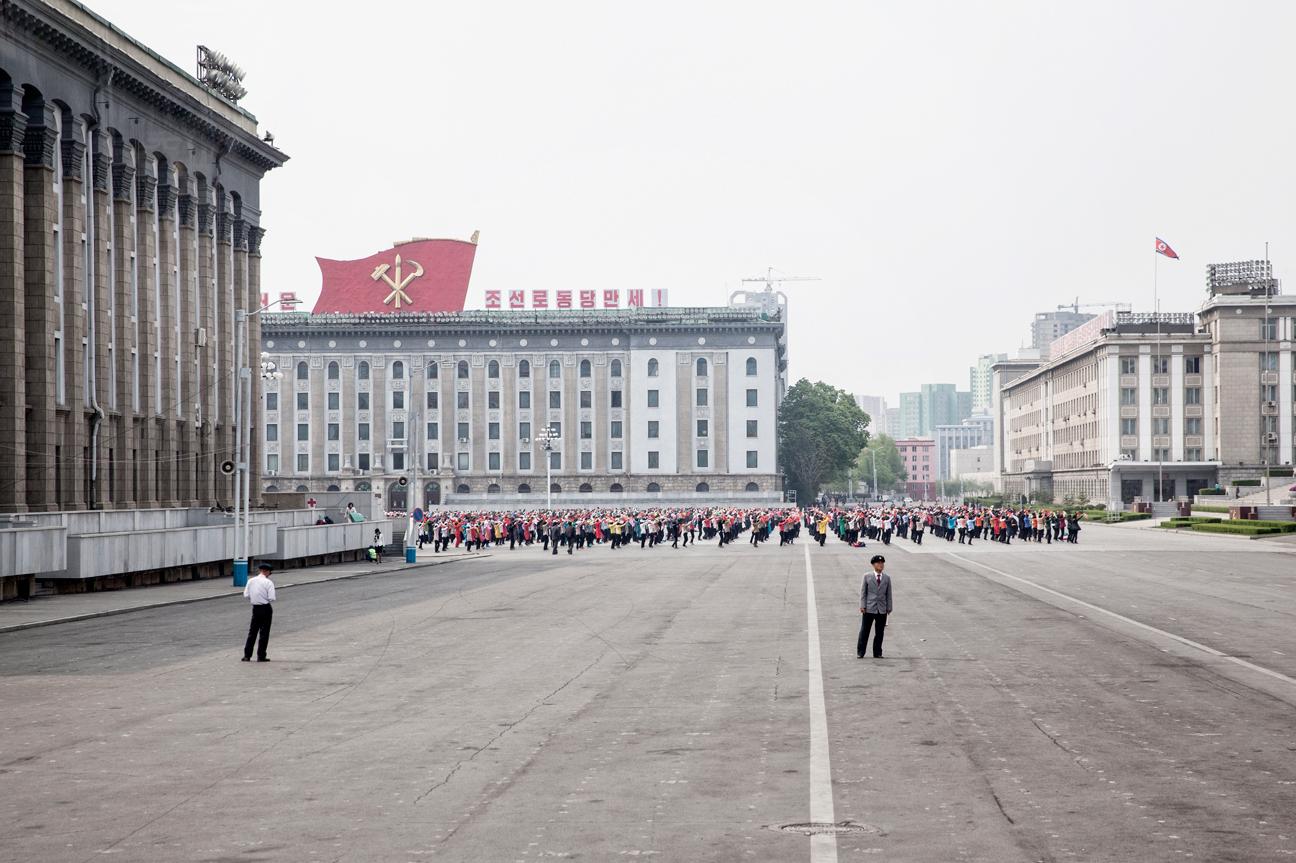 Training für die Parade zum  siebten Parteikongress in Pyongyang.