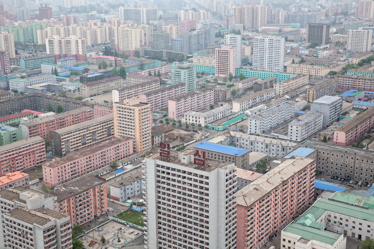 Blick vom Juche Turm auf Pyongyang.