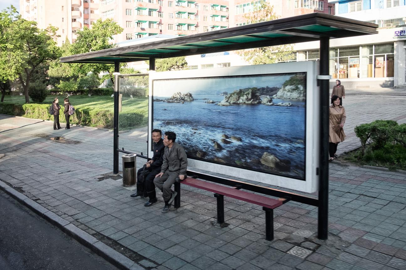 Busstop in Pyongyang.