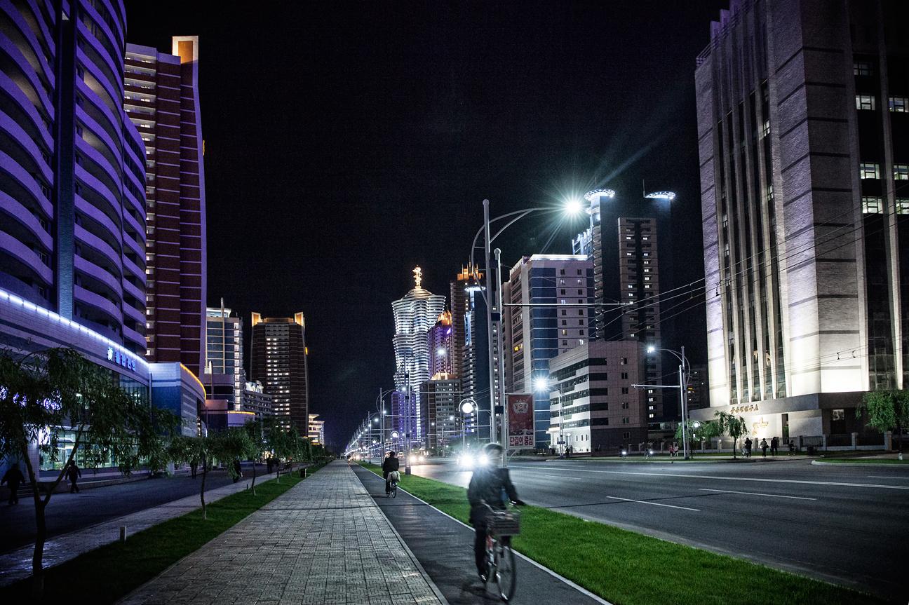 Mirae Strasse, ein Wissenschaftlerwohnviertelin Pyongyang.